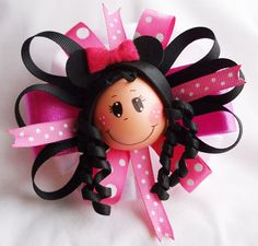 Fofucha Doll Handcrafted Hair Barrette  Minnie by FofuchasDolls, $7.00