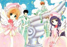 back: Syaoran, Toya, Yukito-san. In front, Sakura and Tomoyo  From Cardcaptor Sakura