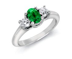 Emerald and Diamond Ring in 18k White Gold #BlueNile Would love this for my 30th.