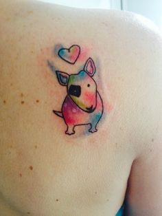Watercolor Bull terrier tattoo