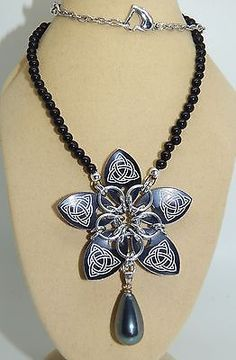 Hand-Made Scale Maille Flower Pendant & MOP Drop on Black Onyx Beaded Necklace