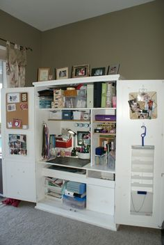 Best craft room storage and organization furniture ideas 00037 Armoire Cabinet, Craft Armoire, Craft Cupboard, Craft Cabinet, Armoire Redo, Cupboard Storage, Craft Room Storage, Craft Storage Cabinets, Sewing Room Organization