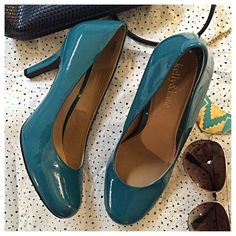 """Kelly & Katie   Turquoise Pumps Here's to stepping into Summer 2016 in style! Add an unexpected pop of color to any outfit with these fun, flirty pumps. These patent leather shoes have been worn just once so are in like-new condition! Heel is 3.75"""" tall. Open to offers ✌️ Kelly & Katie Shoes Heels"""
