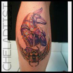 Copyright Chelartist. Anubis tattoo, Byron Bay, NSW.