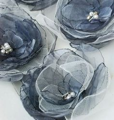 The White Bench: Organza Flowers: a Tutorial. The White Bench: Organza Flowers: a Tutorial. Organza Flowers, Faux Flowers, Diy Flowers, Fabric Flowers, Paper Flowers, Cloth Flowers, Fabric Crafts, Sewing Crafts, Sewing Projects