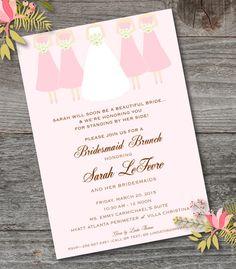 Bridesmaid Brunch Invitation, PRINTABLE, Bridesmaid Luncheon Invitation, CUSTOM, Blush, Girls in dresses, bride & bridesmaids by CrystalScottDesigns on Etsy https://www.etsy.com/listing/254423267/bridesmaid-brunch-invitation-printable