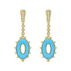"Judith Ripka ""Bahama Mama"" Turquoise & Diamond Drop Earrings ❤"