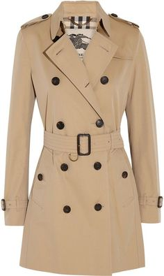 ee2588a758bb0f Burberry London The Kensington Mid Cotton-Gabardine Trench Coat Beige Trench  Coat, Classic Trench
