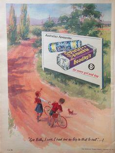 HOADLEY S VIOLET CRUMBLE AD 1957 original retro vintage AUSTRALIAN advertising