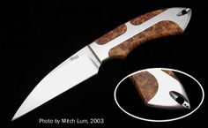 Todd Begg Knives  EmLum Wharncliffe  Blade: Hand-rubbed CPM-S30V  Bolsters: Inline Integral  Handle: Stabilized Amboyna Burl