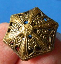 Antique Brass CRICKET CAGE Hexagon PIERCED Victorian vintage Metal button
