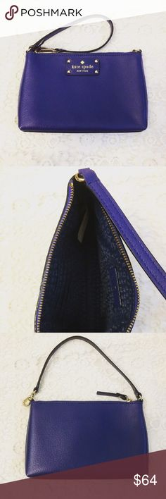 Kate Spade Wristlet Gorgeous dark blue authentic Kate Spade wristlet with card slots on the interior. Adjustable strap. Never used and in great condition! kate spade Bags Clutches & Wristlets