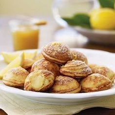 Lemon-Mascarpone Filled Ebelskiver:   These pancakes contain a luxurious filling of sweet-tart Meyer lemon curd blended with mascarpone, a soft fresh Italian cheese made from cream. The delicate flavors prove pancakes aren't just for kids.