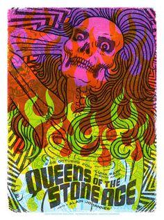 Queens of the Stone Age gig poster by artist Santiago Pozzi. #illustration #posterdesign #santiagopozzi