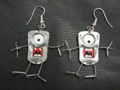 Petit monstre de métal et de fil de fer : Boucles d'oreille par mimetallic sur ALittleMarket
