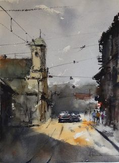 Fernando Pena Watercolor Sketch, Watercolor Artists, Watercolor Landscape, Artist Painting, Landscape Art, Painting & Drawing, Watercolour Paintings, Watercolor Beginner, Painting Patterns