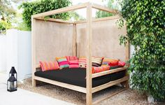 Design Inspiration From a Palm Springs Desert Chic Boutique Hotel, The Amado — House Tour Outdoor Cabana, Outdoor Daybed, Outdoor Decor, Outdoor Furniture, Patio Daybed, Small Furniture, Plywood Furniture, Outdoor Seating, Modern Furniture