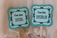 Glitzy Tiffany Mr and Mrs paddles for Photos....by Lily and Lace....