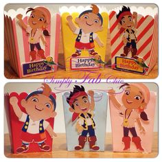 Jake and the Neverland Pirates treat box for kids birthday party / favors