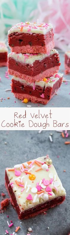 Red Velvet Cookie Dough Bars -- Perfect for showing your love this Valentine's Day, these no-bake treats are composed of a pink cookie crust, a luscious layer of chocolate chip red velvet cookie dough, and a white chocolate ganache topping. Best Dessert Recipes, Cupcake Recipes, Easy Desserts, Sweet Recipes, Baking Recipes, Delicious Desserts, Cupcake Cakes, Yummy Food, Bar Recipes