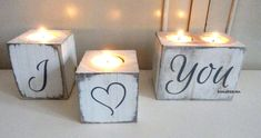 I Love You Heart Wood Tea Light candle Holder tealight Shabby Chic #Unbranded #FrenchCountry