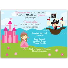 Invite guests to your girl and boy birthday party with this invitation featuring a pirate and a princess in his ship and a princess by her castle. White envelope included.