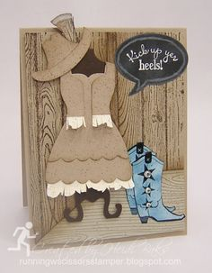 FM147 Kick Up Your Blue Suede Boots by RunningwScissorsStamper, Stampin' Up, Bootiful Occasions, Fine Feathers, Hardwood BG, Woodgrain BG, Dress Up
