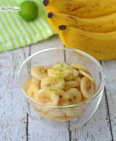 Plátanos con miel de limón. Receta