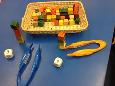 Maths and finger strengthening too… turn over the timer… throw the dice… build your tower using the tweezers . keep score … best of three! Maths Eyfs, In Kindergarten, Preschool Activities, Numeracy, Preschool Plans, Cutting Activities, Nursery Activities, Early Years Maths, Early Math