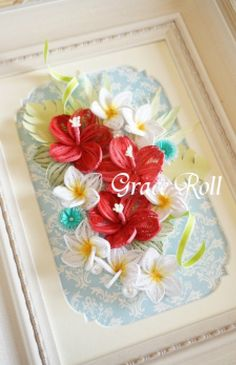 Red and White Quilled Flowers