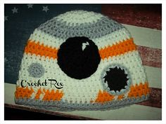 Crocheted BB 8 hat  Please favorite the pattern it will be released for free January 17th!!