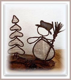 Make Christmas tree out of tin How To Make Christmas Tree, Christmas Wood Crafts, Handmade Christmas, Holiday Crafts, String Crafts, Wire Crafts, Metal Crafts, New Crafts, Book Crafts