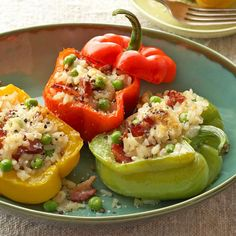Just a bit of bacon goes a long way to adding rich, salty flavor to these risotto-stuffed peppers: http://www.bhg.com/recipes/healthy/dinner/gluten-free-recipes/?socsrc=bhgpin032614sweetpeppers&page=12