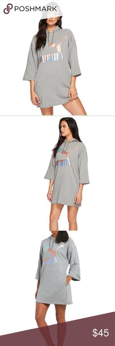 Puma glam hoodie dress grey size medium NWT Puma Glam hoodie dress Size M🔥🔥 Attached hood with drawstring ties. Relaxed fit with cropped sleeves. Eye-catching, metallic brand mark design at front. Slash hand pockets because who doesn't love pockets on a dress. Straight hemline. 68% cotton, 32% polyester.  Measurements: Length: 33 in Happy Poshing 💜🛍💜 Puma Dresses Asymmetrical