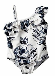 Baby Gap Toddler Girls Asymmetrical Floral One Piece Ruffle Bathing Suit NWT 4T #BabyGap #OnePiece