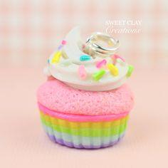 Pastel Rainbow Cupcake Charm Miniature Food Jewelry Polymer Clay Handmade by Sweet Clay Creations