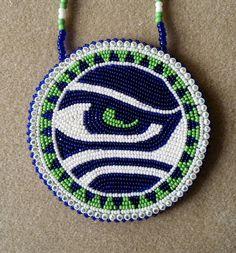 Native American Beaded Seattle SeaHawks Eye Medallion by AweyoDesigns on Etsy