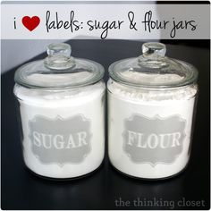 """Frosted vinyl """"sugar"""" and """"flour"""" labels using...wait for it...a free font!  Free cut file for Silhouette Studio."""
