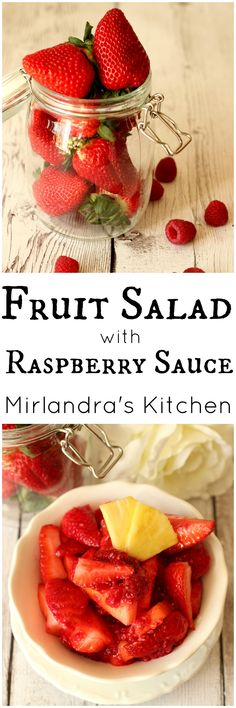 This easy fruit salad is flavorful and unique.  The dressing is made up of nothing but smashed raspberries.  It is the perfect side dish for any occasion. Easter?  Picnic? BBQ? Breakfast with company?  Dessert with our without whipped cream?