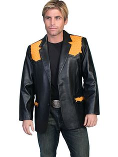 Scully Men's Black Lambskin Western Style Blazer With Buttercup Ostrich Trim  46 #Scully #Western