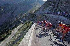 Cyclists speed down Noyer pass during the 10th stage of the Tour de France race that started in Chambery, France and will finish in Gap. Description from content.time.com. I searched for this on bing.com/images