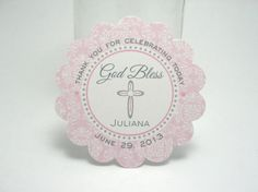 CROSS tags - baptism, communion, christening, confirmation - Pink damask on Etsy, $5.00