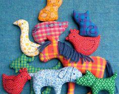 Big Farm Set - Little Softies sewing pattern, INSTANT DOWNLOAD, Farm animals plush, Horse, Cow, Pig, Lamb, Donkey, Goat, PDF sewing pattern