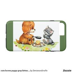 cute brown puppy gray kitten case
