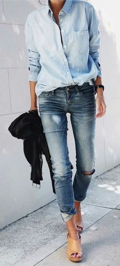#fall #outfits women's blue long-sleeved button-up pocket shirt and black-washed fitted jeans