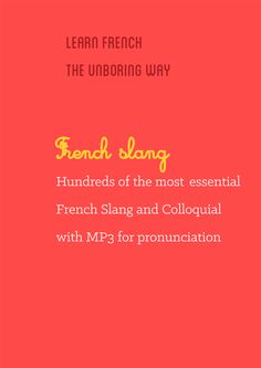 """""""All the essential of French Slang to speak like French People""""  If you want to learn the right way and understand what French currently say on the street or on TV, Radio not what you learned in your textbooks, then you should definitely check it out this ebook.   18 topics covered MP3 (pronunciation) included Bonus: A second ebook with more than 200 words used by youngsters for Free (Value: $5) Check it out here: http://www.talkinfrench.com/product/french-slang-ebook/"""