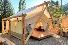 Bell Tent Camping, Camping Glamping, Campsite, Backpacking Tent, Camping Tips, Oregon Camping, Oregon Travel, Cabana, Tent Platform