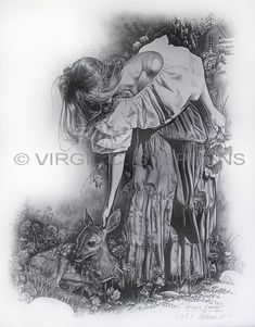 forever Young, Romantic woman and fawn pencil drawing by western Artist Virgil C. Stephens