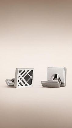 5485f023c07b Noir Boutons de manchette carrés avec détails check - Image 1 Accessoire  Homme, Mode Homme