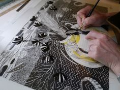 Angie Lewin working on films for a screen print